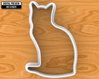 Sitting Cat Cookie Cutter, Selectable sizes
