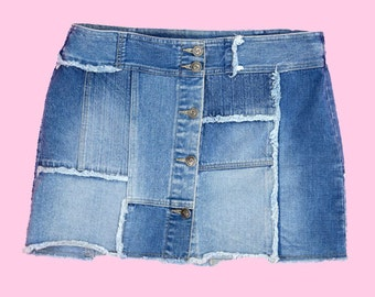 Patchwork Denim Mini Skirt