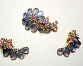 "Vintage Rhinestone Jewelry -  ""Juliana"" Brooch Pin And Earring Set - Book Piece - Delizza & Elster"