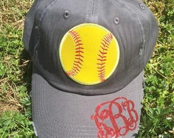 Softball mom hat with monogram