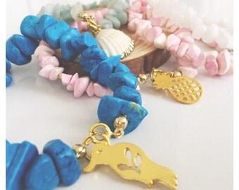 Bracelet with stones and sea pendant