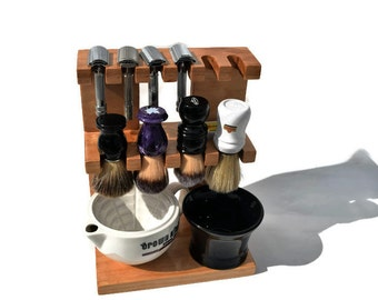 Safety razor and shaving brush stand double decker wooden, room for razors, brushes,  bowls custom made
