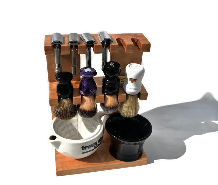 Safety Razor And Shaving Brush Stand Double Decker Wooden