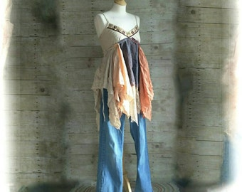 Sunshine Shabby Frayed tattered gypsy fairy floral lace skirt Upcycle country crochet cami beaded tank rustic Boho altered Dress top