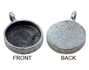"""Round Pendant  5/8"""" Diameter Silver Plated with Bail (3000SP-01)"""