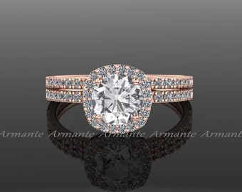 White Sapphire Engagement Set, Diamond Alternative, Halo Bridal Set, 14k Rose Gold Wedding Set Re00071