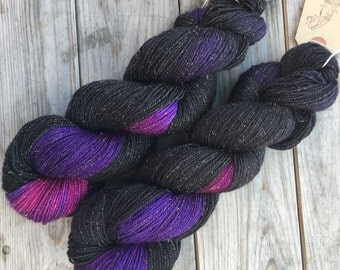 A New Star, hand-dyed soft merino nylon blend sparkle sock yarn with gold stellina