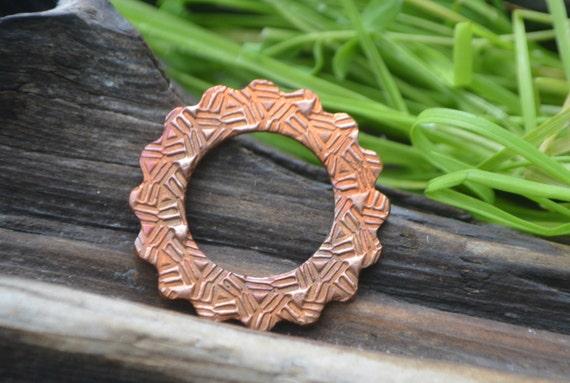 Handmade Copper Basket : Basket weave handmade copper washer component from
