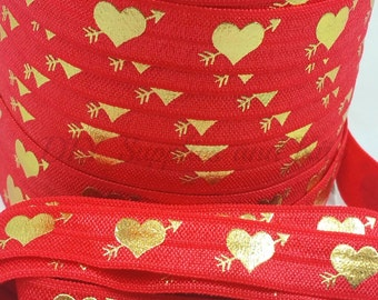 Fold over elastic, Large gold hearts on Red elastic by the yard, Valentines FOE, 5/8 elastic, Headband elastic,  1 or 5 yards