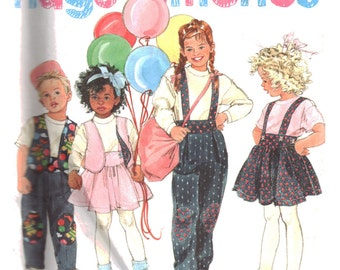 Simplicity Sewing Pattern 7468 Girl's Top, Jumper, Overall, Lined Vest - top for stretch knit  Size:  A  2-6x  Used