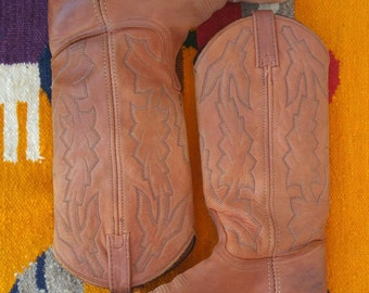 Vintage Dan Post for Marlbro Cowboy Western Boots Brown Leather