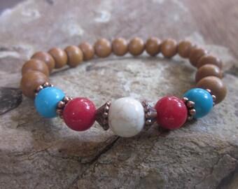 bohemian bracelets red white turquoise blue women's bracelet beaded bracelet yoga stretch bracelet stone & wood bead bracelet mens bracelet