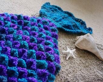Mermaid Tail Crochet Blanket - Mermaid Tail Afghan - Crocodile Stitch Blanket
