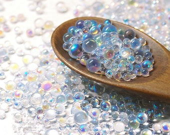 20g - No Hole Micro Glass Beads - iridescent clear - ABcolor