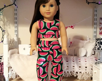 american girl doll watermelon crop top and pants