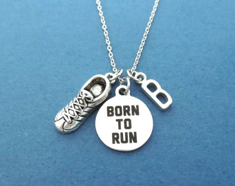 Personalized, Letter, Initial, BORN TO RUN, Running shoes, Silver, Necklace, Run, Runner, Marathon, Shoes, Accomplishment, Gift, Jewelry