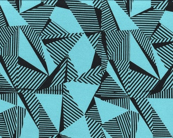 Jersey - op art - turquoise