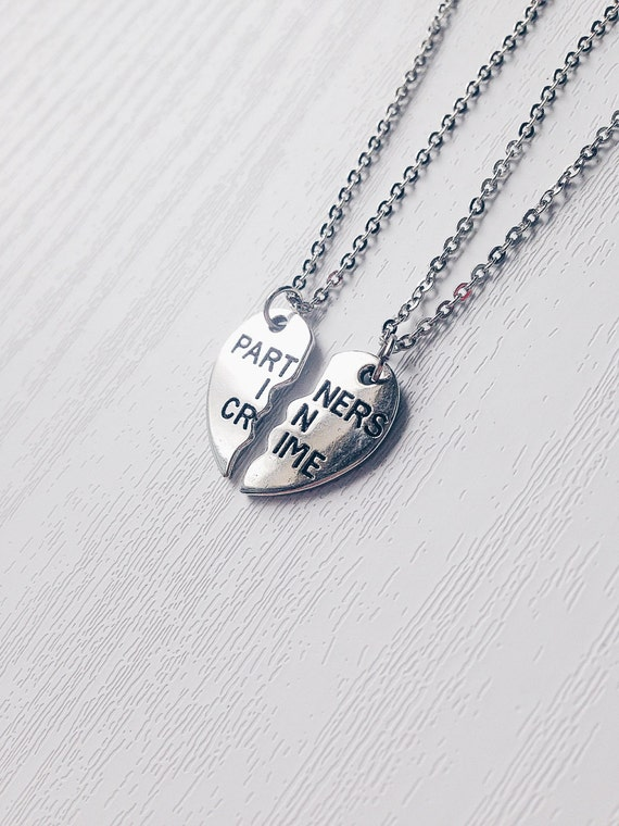 partners in crime necklace set of 2 gift by kukeeuk