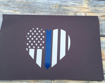 Heart & stars with thin blue line decal/thin blue line decal/support law enforcement/support the blue