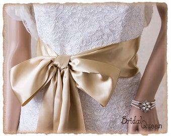 "4"" Deluxe Champagne Bridal Sash, Champagne Wedding Sash, Champagne Satin Ribbon Bridal Belt,  Wedding Sash, Satin Bridal Sash"