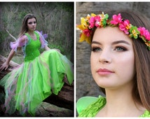 Woman's  Fairy  Costume ~ Tinkerbell Green Halloween  Dress  ~ Mardi Gras ~ Theatre ~ Festival ~Batcholette Party