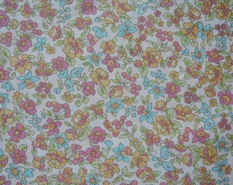 "1/2 Yard of Lecien Memoire a Paris Floral Cherries Lawn Fabric in Pastel Yellow. Approx. 18"" x44"" Made in Japan"