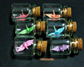 Lot of 6pcs 1-inch Hand-folded Paper Crane In Clear Glass Mini Bottle With Cork. (MD paper series). #CIB06d.