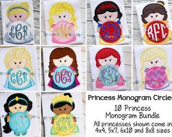 Princess Monogram Circle Bundle Machine Applique Design