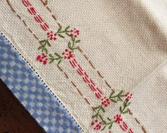 Vintage Linen Embroidered Tea Towel