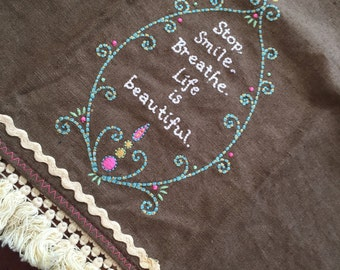 Brown and Teal Embroidered Tea Towel