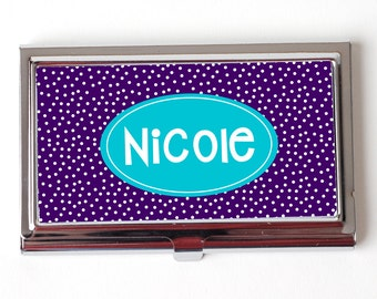 Stocking Stuffer Gift for Her Business Card Case - Personalized Office Gift under 15 - Royal Purple