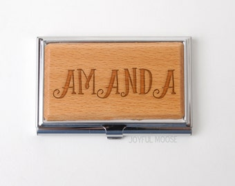 Personalized Business Card Holder - Personalized Bamboo Wood Business Card Holder