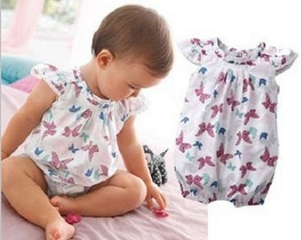RTS Baby Girl Butterfly Print Cotton Bodysuit Romper Size 3-6-12-18-24 months
