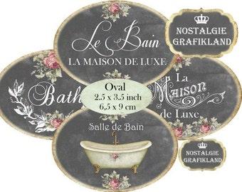 Chalkboard Salle de Bain French Bath Le Bain Bathroom Oval 3.5 x 2.5 inch Etiquette Instant Download digital collage sheet O158