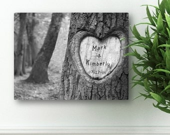 "Personalized Couples Canvas Sign -  Custom Canvas Print -  Personalized Tree Carving Canvas Print - 18"" x 24"" - CA0084"