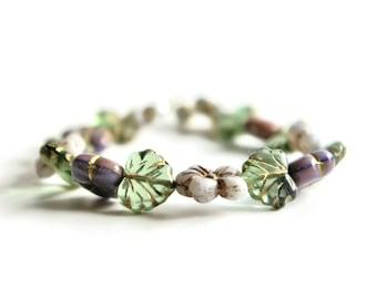 Flower bracelet, leaf bracelet, floral bracelet, Czech beads, bead bracelet, foliage bracelet, Birthday present
