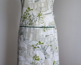 Ladies Apron, Full Apron, Women's Apron made from linen fabric with prestigious Brompton Road print.