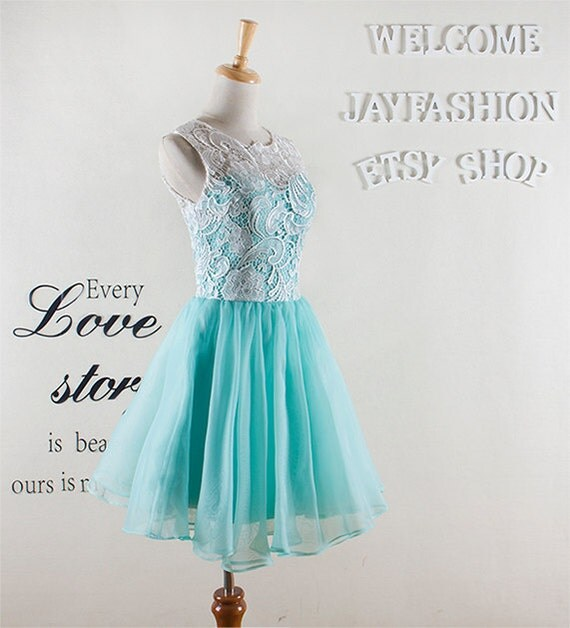 Mint green Short Prom Dress,White Lace Bridesmaid Dress Lovely Lace knee length party dress Short sleeveless homecoming dress