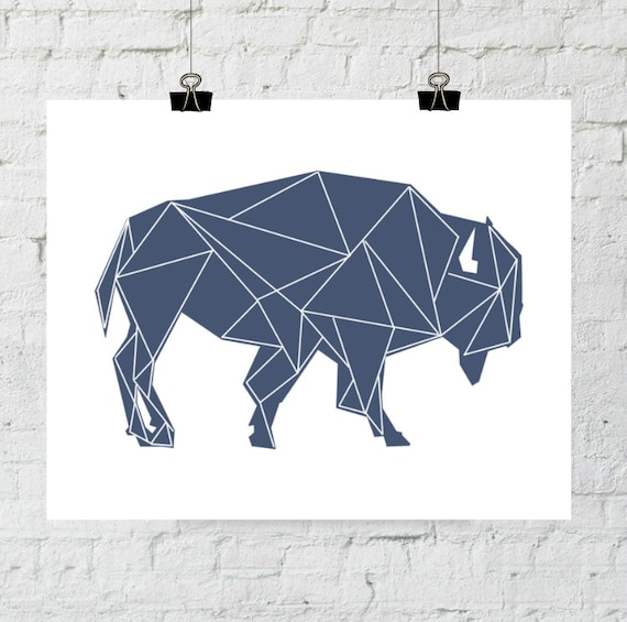 Buffalo Wall Print, Buffalo Wall Art, Navy Buffalo Prints, Navy Art, Geometric Print, Animal Wall Print, Tribal Nursery Art, Printable Art