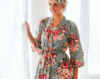 Bridesmaids robes Kimono Crossover Spa Wrap Perfect bridesmaids gift getting ready robes Bridal shower party favors Embroidery
