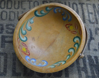 Vintage Hand Painted Bowl With Handle