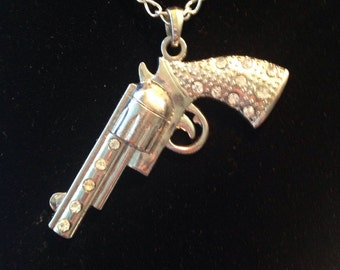 Rhinestone Pistol Necklace