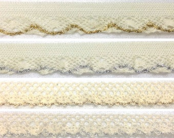 MIRINE New Spandex Gold&Silver Metal Point Torsion Lace Fabric / per 1 Yard