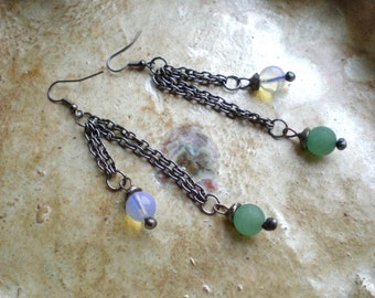 Dangle earrings long earrings beads earrings long dangle light green white earrings  bohemian style balls AWillam