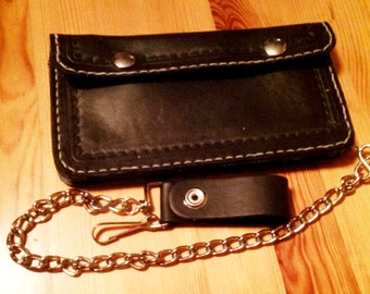 Leather Biker Wallet Chain wallet- large