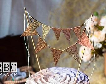 Copper Glitter Banner, Copper Banner, Copper Wedding Cake Topper, Copper Glitter Birthday, Copper Wedding Cake Decor, Copper Glitter Flags