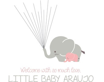 Baby Shower Finger Print Guest Book With Elephants