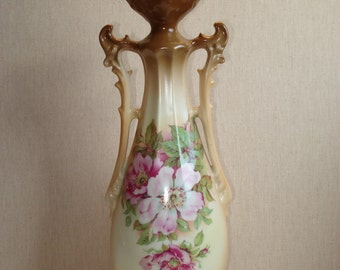 """Victorian Two Handle Vase with Briar Roses, 11.75"""""""