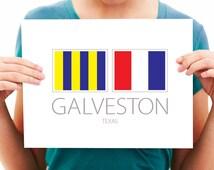 Galveston, Texas - Nautical Flag Art Print