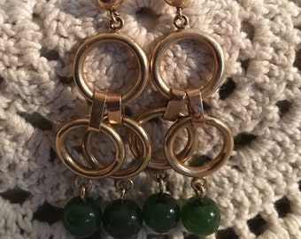 Vintage Jade Bead Earrings